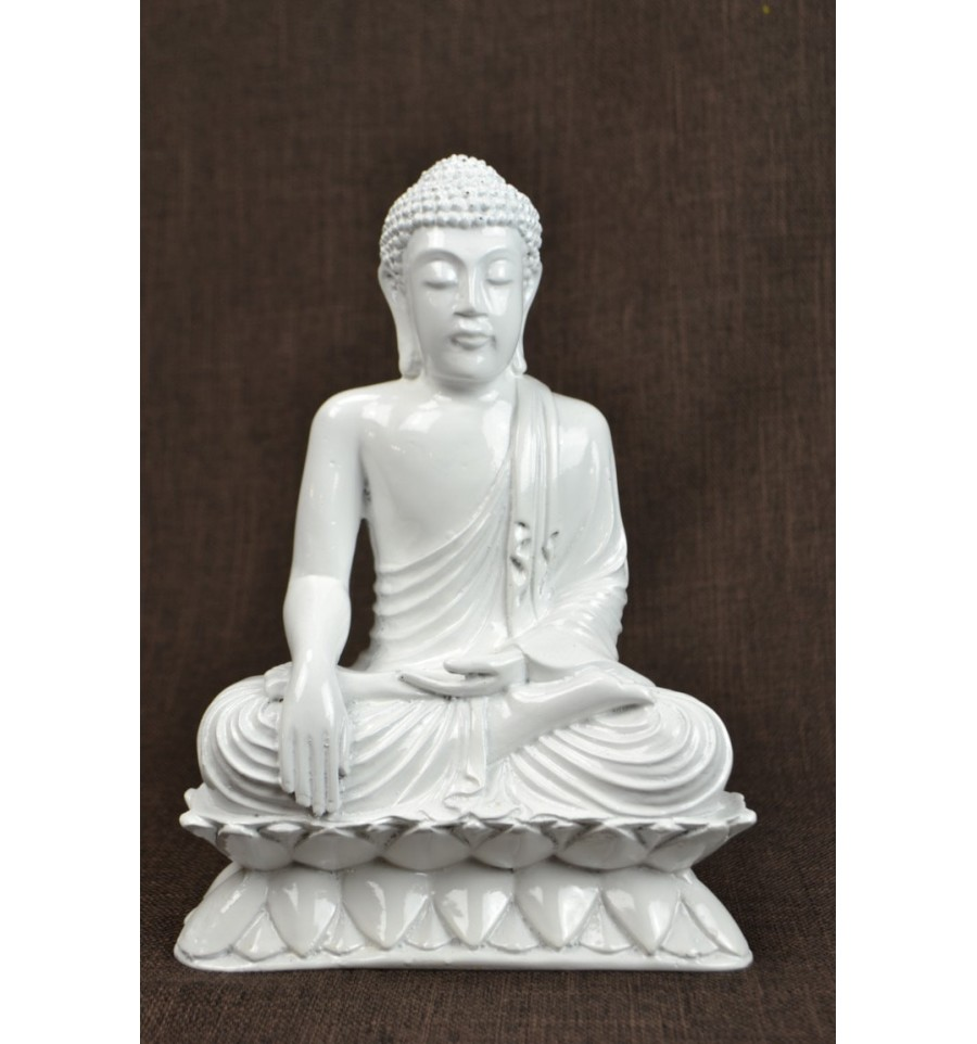 statue bouddha assis appel la terre blanc d co artisan zen asiatique. Black Bedroom Furniture Sets. Home Design Ideas