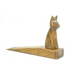 Cale-porte original en bois décor Chat