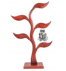 Gioielli albero 5-foglia in legno massello colore rosso