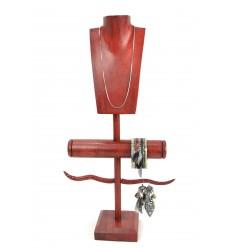 Mostra Gioielli multi-funzione in legno massello colore rosso