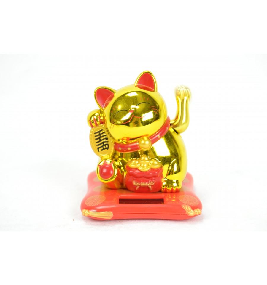 Chat chinois porte bonheur pas cher maneki neko solaire sans pile - Porte bonheur chinois chat ...