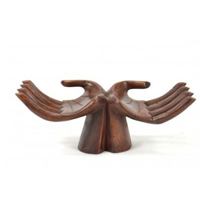 Le mani porta-anelli / carte - in legno massello tinta color cioccolato