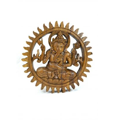 "Decor mural ""Temple of Ganesha"" solid wood carved hand"
