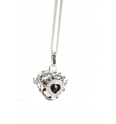 Collar fantasy with Bola pregnancy Heart in silver metal