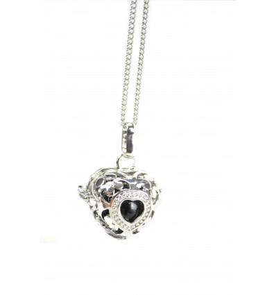 Collar fantasy with Bola pregnancy Heart in silver metal