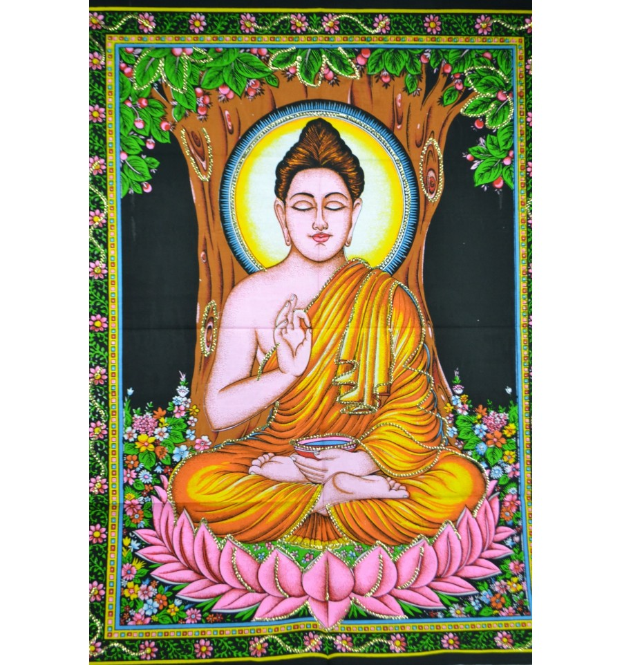 Tenture murale indienne batik d co motif bouddha for Decoration murale indienne