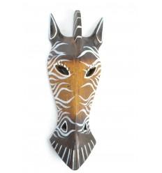 Masque Zèbre en bois 30cm décoration Safari.