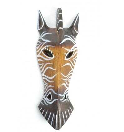 Maschera da Zebra in legno 30cm decorazione Safari.