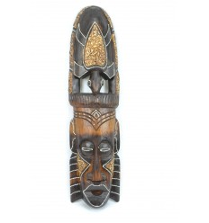 Masque Africain en bois 50cm motif Tortue. Fabrication artisanale.