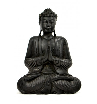Sitting Buddha Statue Anjali Mudra in wood black finish with ebony h30cm