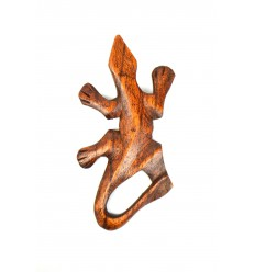 Decor wall Gecko 10cm of exotic wood, for wall decorations DIY.
