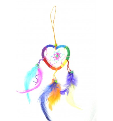Attrape-rêves multicolore forme Coeur - idéal rétroviseur !
