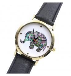 """Montre fantaisie femme """"Hippie Elephant"""" - bracelet similicuir noir."""
