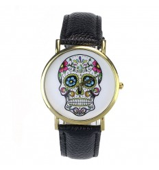 "Shows fantasy ""Calavera"" pattern skull colorful - strap: leatherette black."