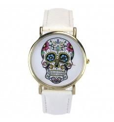 """Mostra fantasia """"Calavera"""" modello di testa di morte, messicano - bracciale in similpelle bianca."""