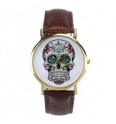 """Montre fantaisie """"Calavera"""" motif tête de mort multicolore - bracelet similicuir marron."""