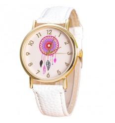 """Montre fantaisie femme """"Dreamcatcher"""" motif Attrape Rêves - bracelet blanc"""
