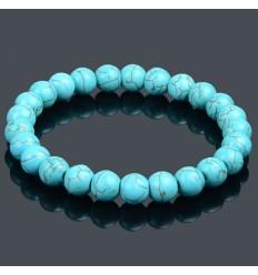 Bracelet Lithothérapie en Turquoise (Howlite) - Protection et purification.