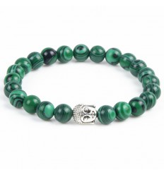 Bracelet Malachite natural + pearl Buddha. Free shipping.