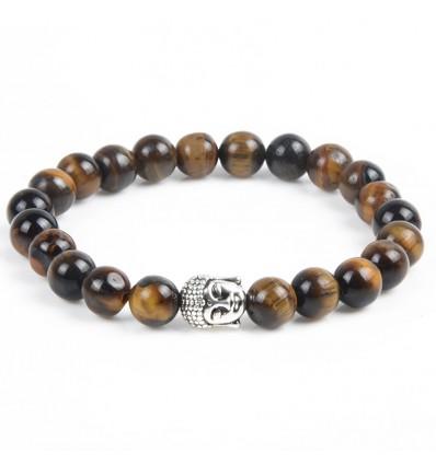 Bracelet en Oeil de Tigre naturel + perle Bouddha. Livraison gratuite.