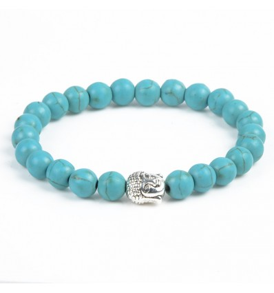 Bracciale Turchese naturale + perla di Buddha. Spedizione gratuita.