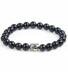 Bracelet in Onyx natural + pearl Buddha