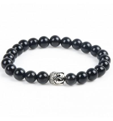 Bracelet en Onyx naturel + perle Bouddha. Livraison gratuite.