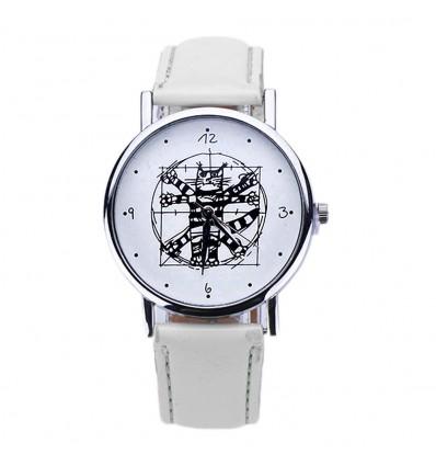 """Montre fantaisie """"Da Vinci Cat"""" - bracelet similicuir blanc. Livraison gratuite !"""