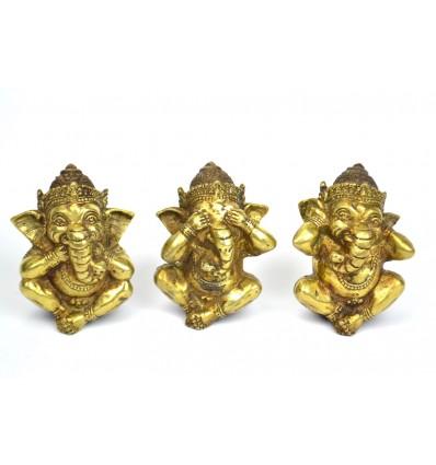 """3 statuette di Ganesh """"il Segreto della Felicità"""" in bronzo massiccio."""