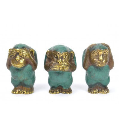 The monkeys of the wisdom. 3 Statues deco bronze H7cm