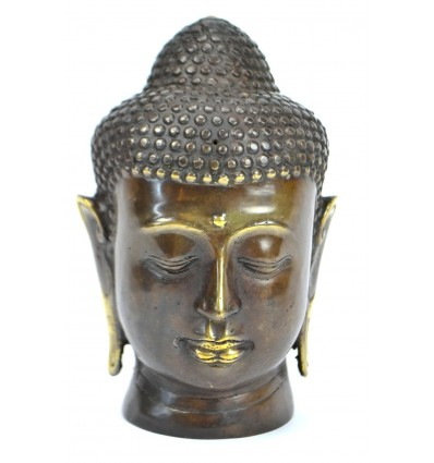 Head of Buddha. Handcrafted in bronze h15cm. Zen Decoration.