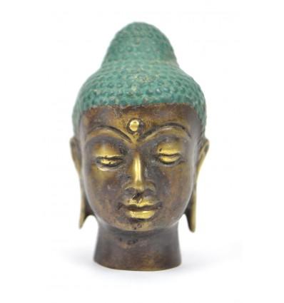 Piccola testa di bronzo del Buddha h7cm. Artigianato asiatico.