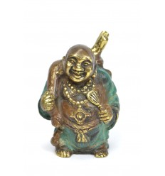Statuette Buddha inside traveller in bronze. Deco chinese.