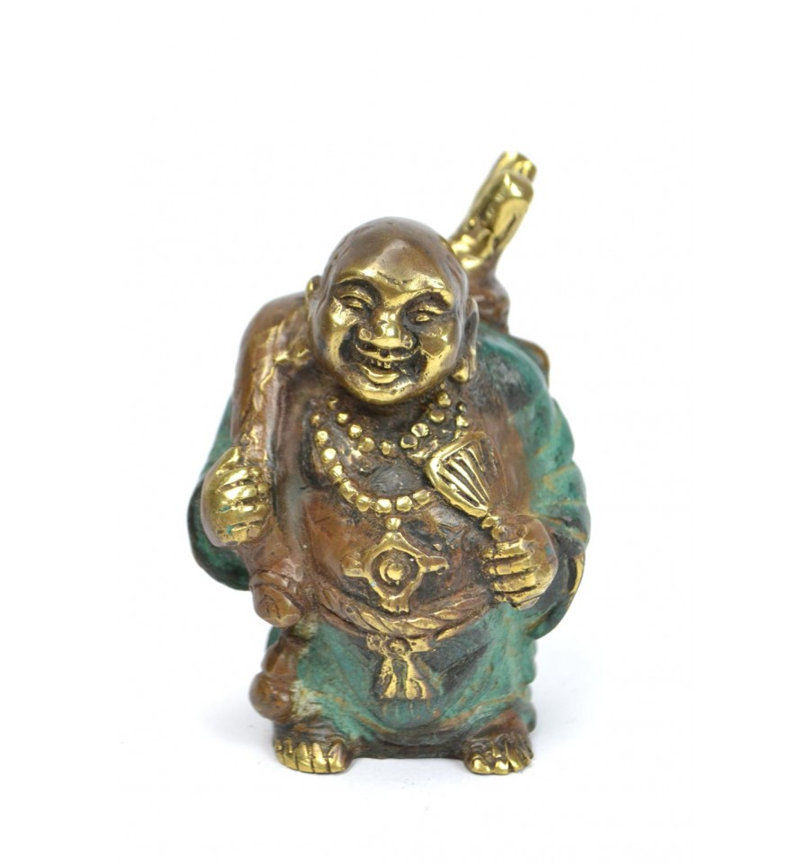 statuette bouddha rieur voyageur en bronze amulette porte bonheur. Black Bedroom Furniture Sets. Home Design Ideas