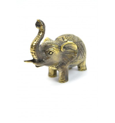 Figurine elephant trunk in the air, a lucky number in bronze.