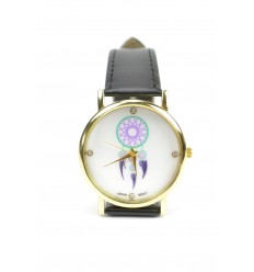 "Watch fantasy woman ""Boho Chic"" motif Catches Dreams - black strap"