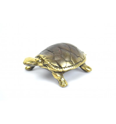 Figurine miniature Turtle in bronze. Creation craft.