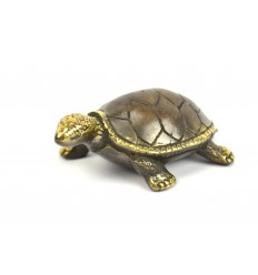 Statuette deco Tortoise of land bronze. Creation craft.