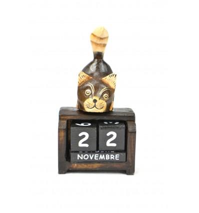 Petit calendrier perpétuel en bois, décor chat. Cadeau enfant.