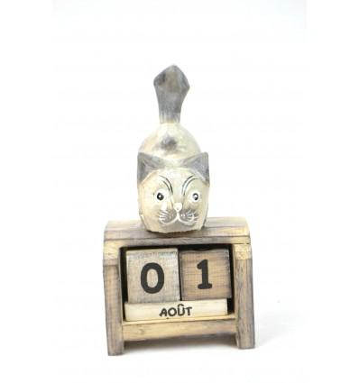 Petit calendrier perpétuel en bois, chat gris. Cadeau enfant.