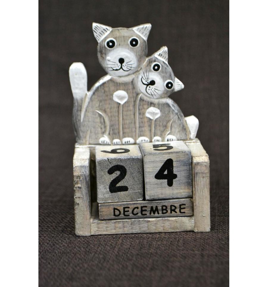 calendrier perp tuel chat chaton en bois id e cadeau original enfant. Black Bedroom Furniture Sets. Home Design Ideas