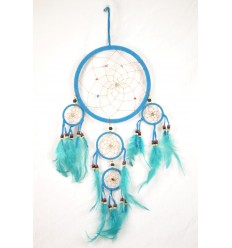 Big giant dream catcher craft 50x25cm velvet turquoise
