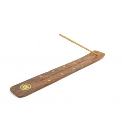 Porte-encens en bois motif Soleil - pour batons