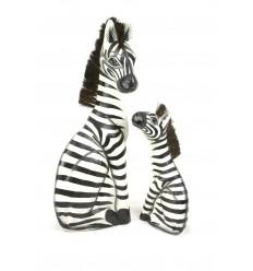 """Statue """"Madre zebra e il suo zébron"""" legno H50cm. Deco Safari, Savana In Africa."""