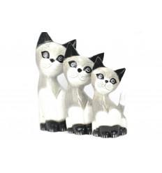 Lotto 3 statuette famiglia e gatti gattino in legno