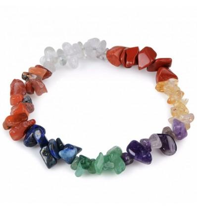 Bracelet Lithotherapie baroque 7 chakras semi-precious stones