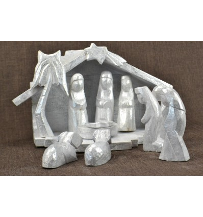 Christmas crib wood and 9 figurines. Finish silver patina.