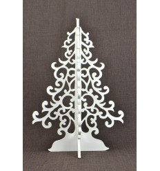 Christmas tree white 40cm baroque style. Decoration Christmas craft wooden.