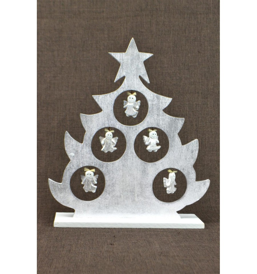 Sapin De No L De Table D Cor Anges H30cm Bois Patine Argent E Ebay