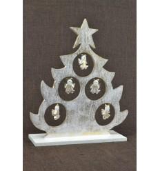 Christmas tree table decor angels H30cm. Wood golden patina.